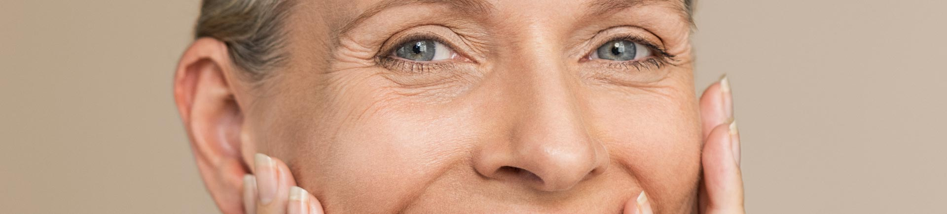 Face of middle-aged caucasian woman